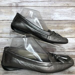 Sperry 7.5M Gray Metallic Soft Leather Loafer